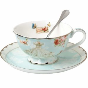 AWHOME Teacup and Saucer and Spoon Sets Vintage Royal Bone China Tea Cups Rose Flower Blue Boxed Set 7-Oz