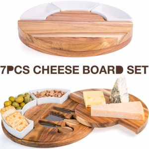 Cheese Board Set, Charcuterie Board With Cutlery Knife Set, Wood Cheese Serving Platter with 3 Knife Set Plus 3 Ceramic Bowl, Perfect Meat & Wine Server Plate with Slide Drawer