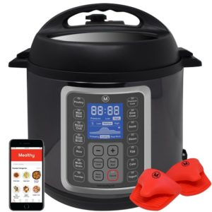 Mealthy MultiPot 9-in-1 Programmable Pressure Cooker - 6 Quarts Stainless Steel Pot, steamer basket, silicon mitts, with instant access to recipe app included.