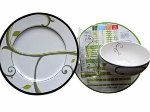 Precise Portions LPS1-G1 4 Piece Set - Porcelain Plate, Bowl, Drinking Glass and Nutrition Disc.